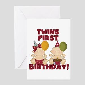 Twins 1st Birthday Boy Girl Greeting Card