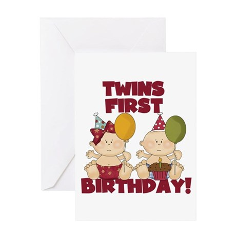 Twins 1st Birthday Boygirl Greeting Card By Peacockcards