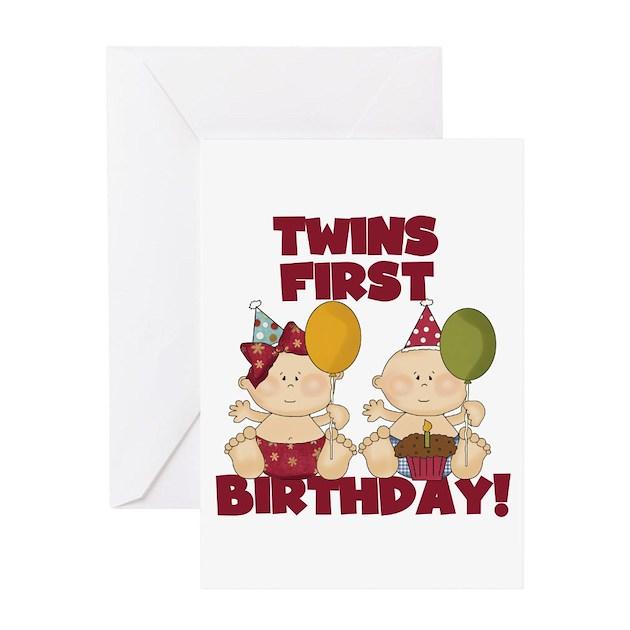 twins 1st birthday boy girl greeting card by peacockcards