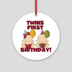 Twins 1st Birthday Boy/Girl Ornament (Round)