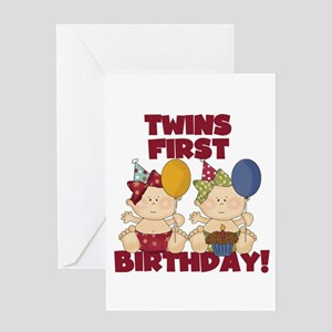 Twins first birthday greeting cards cafepress twins 1st birthday girls greeting card m4hsunfo