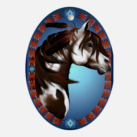 Feathered Paint Horse Ornament (Oval)