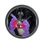 Black Borzoi with Toy Wall Clock