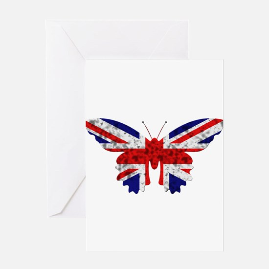 Great Britain Butterfly Flag Greeting Card
