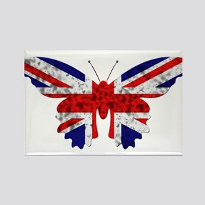 Great Britain Butterfly Flag Rectangle Magnet
