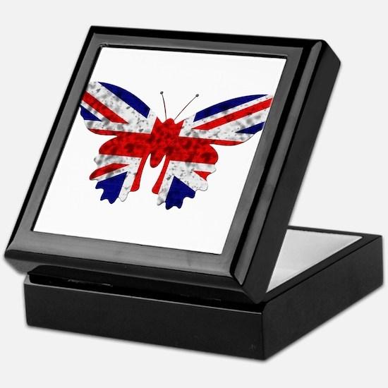 Great Britain Butterfly Flag Keepsake Box