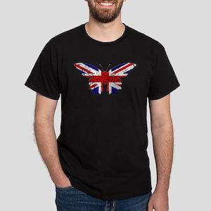 Great Britain Butterfly Flag Dark T-Shirt