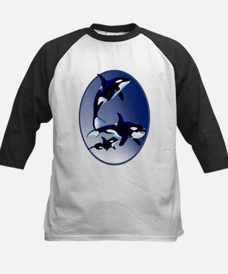 Killer Whale Family Kids Baseball Jersey