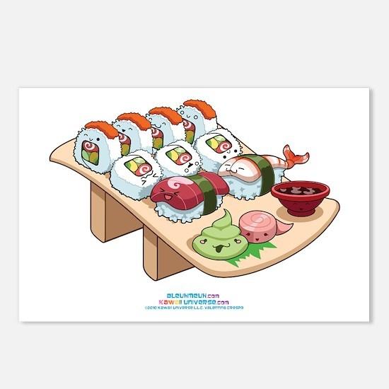 Kawaii California Roll and Sushi Nigiri Postcards