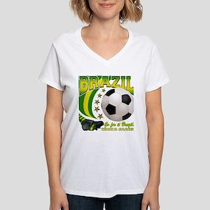 Brazil Soccer Goal Kick 2010 Women's V-Neck T-Shir