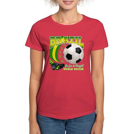 Brazil Soccer Goal Kick 2010 Women's Dark T-Shirt