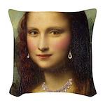 Modern Mona Lisa Woven Throw Pillow