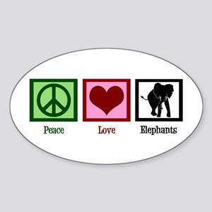 Peace Love Elephants Sticker (Oval)