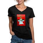 New Orleans Christmas Women's V-Neck Dark T-Shirt