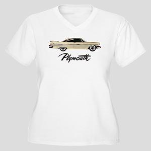 Classic Plymouth Women's Plus Size V-Neck T-Shirt