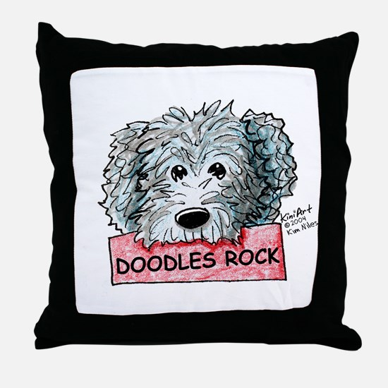 Doodles Rock Sign Throw Pillow