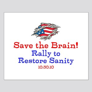 Save the Brain! Torn Flag Small Poster