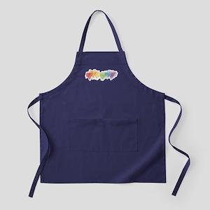 Watercolor Rainbow Hearts Apron (dark)