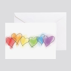 Watercolor Rainbow Hearts Greeting Cards (Pk of 10