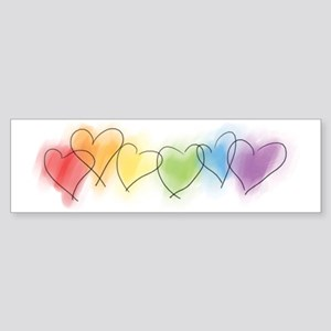 Watercolor Rainbow Hearts Sticker (Bumper)