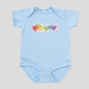 Watercolor Rainbow Hearts Infant Bodysuit