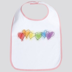 Watercolor Rainbow Hearts Bib