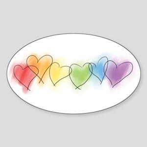 Watercolor Rainbow Hearts Sticker (Oval)