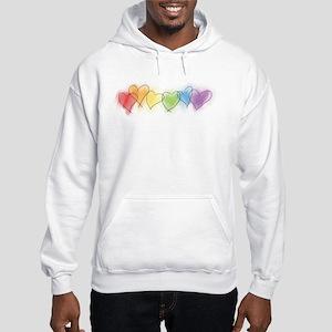 Watercolor Rainbow Hearts Hooded Sweatshirt