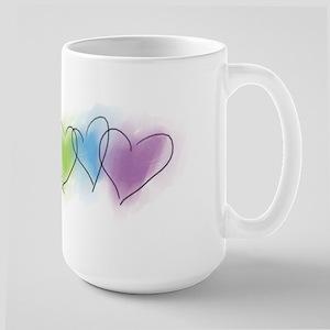 Watercolor Rainbow Hearts Large Mug