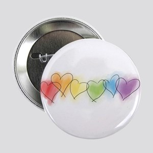 "Watercolor Rainbow Hearts 2.25"" Button"