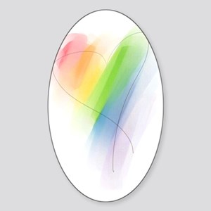 Rainbow Heart Sticker (Oval)