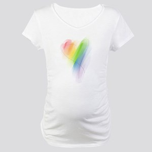 Rainbow Heart Maternity T-Shirt