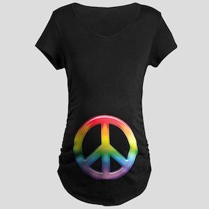 Gay Pride Rainbow Peace Symbol Maternity Dark T-Sh