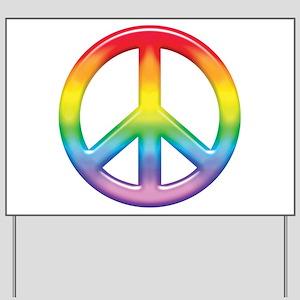 Gay Pride Rainbow Peace Symbol Yard Sign