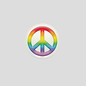 Gay Pride Rainbow Peace Symbol Mini Button