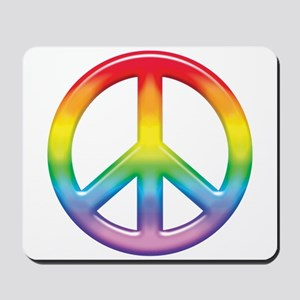 Gay Pride Rainbow Peace Symbol Mousepad