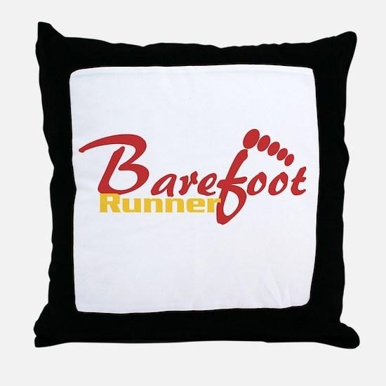 Barefoot Runner Throw Pillow