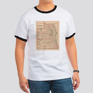 Vintage Map of Chicago Illinois (1876) T-Shirt