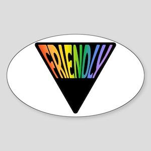 Gay Friendly Rainbow Triangle Sticker (Oval)
