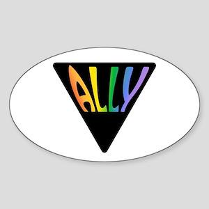 Gay Ally Rainbow Triangle Sticker (Oval)