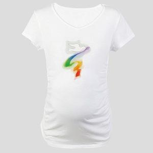 Dove with Rainbow Ribbon Maternity T-Shirt