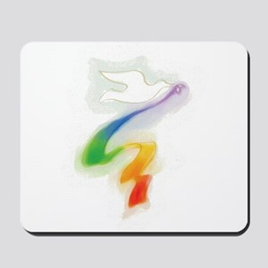 Dove with Rainbow Ribbon Mousepad