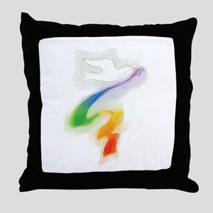 Dove with Rainbow Ribbon Throw Pillow