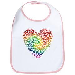 Rainbow Peace Hearts Bib