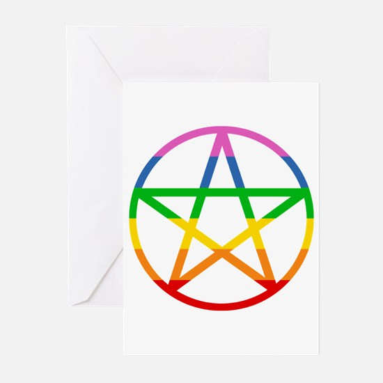Rainbow Pentacle Greeting Cards (Pk of 10)