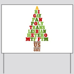 Diversity Christmas Tree Yard Sign