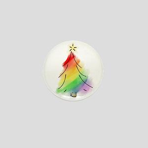 Rainbow Holiday Tree Mini Button
