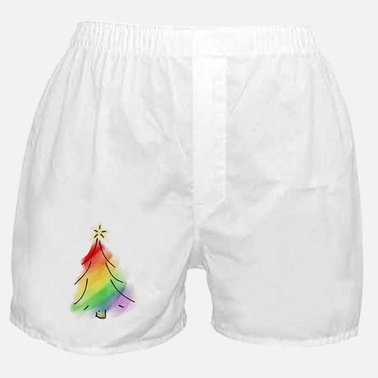 Rainbow Holiday Tree Boxer Shorts