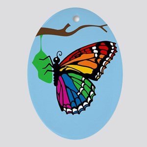 Rainbow Butterfly Emerging From Chrysalis Ornament