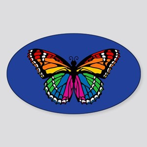 Rainbow Butterfly Sticker (Oval)